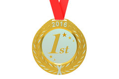 Gold medal 2016, 3D rendering. On white background Stock Images