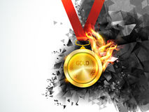 Gold Medal in fire for Sports concept. Royalty Free Stock Photo