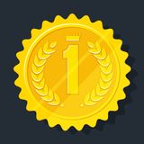 Golden medal icon. Gold medal for the first place. Achievement concept. Signs and symbols of success, victory in competition. Business award and sports prize Royalty Free Stock Image
