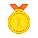 Gold medal for first place icon, cartoon style. Gold medal for first place with red ribbon icon in cartoon style isolated on white background Stock Images