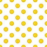 Gold medal for first place pattern, cartoon style. Gold medal for first place pattern. Cartoon illustration of gold medal for first place vector pattern for web Royalty Free Stock Photos