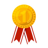 Gold medal for first place prize vector illustration. Winner reward with red ribbon Stock Photo