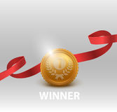 Gold medal for first place. Vector illustration. Stock Photos
