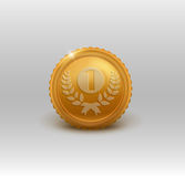 Gold medal for first place. Vector illustration. Royalty Free Stock Photos