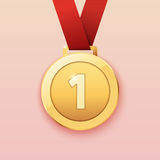Gold medal for first prize. Vector illustration Royalty Free Stock Photography