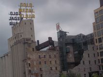 Gold Medal Flour Sign and Mill Ruins in Minneapolis. The old Gold Medal Flour sign and Mill Ruins Park in Minneapolis, Minnesota Stock Image
