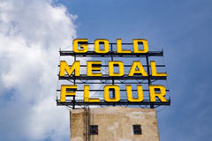 The Gold Medal Flour Sign. MINNEAPOLIS, MN/USA - AUGUST 5, 2015: The Gold Medal Flour Sign at the landmark Mill  City Musem Royalty Free Stock Photos