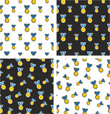 Gold Medal Freehand Big & Small Aligned & Random Seamless Pattern Blue Color Set Stock Photo