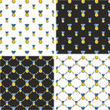 Gold Medal Freehand Big & Small Seamless Pattern Blue Color Set Stock Photo
