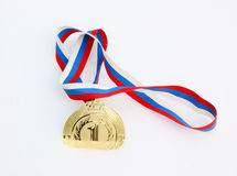 Gold medal in fresh snow Stock Photography