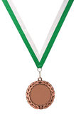 Gold medal with green ribbon Royalty Free Stock Photo