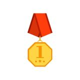 Gold medal hexagon with red ribbon isolated on a white background. Award gold winner prize icon in flat tyle Royalty Free Stock Photo