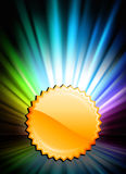 Gold Medal Icon Button on Abstract Spectrum Background Royalty Free Stock Photo