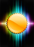 Gold Medal Icon Button on Abstract Spectrum Background Stock Photos