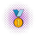 Gold medal icon, comics style. First place gold medal icon in comics style isolated on white background vector illustration