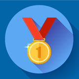 Gold medal icon - first place. Flat design style. Royalty Free Stock Photography