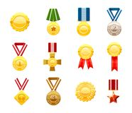 Gold medal icon set, cartoon style. Gold medal icon set. Cartoon set of gold medal vector icons for web design isolated on white background Stock Photo