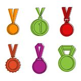 Gold medal icon set, color outline style. Gold medal icon set. Color outline set of gold medal vector icons for web design isolated on white background royalty free illustration