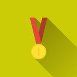 Gold medal icon. Gold medal winner, first place. Sport icon. Concept of victory, award, achievement, goal. Flat design with long shadow. Vector illustration for Royalty Free Stock Images
