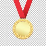 Gold medal isolated on transparent background. Vector illustration Royalty Free Stock Image