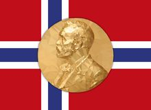 Gold Medal Nobel prize with Norvay flag Stock Image