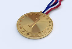 Gold medal with number. On a multi-colored ribbon Royalty Free Stock Photography