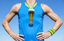 Gold Medal Octoberfest Beer Drinker Athlete Stock Photo