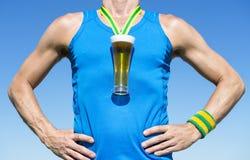 Gold Medal Octoberfest Beer Drinker Athlete Stock Photo