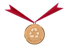 Gold medal of recycling vector illustration