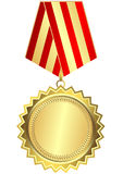 Gold medal with red and golden striped ribbon Royalty Free Stock Image
