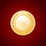 Gold medal on red leather Royalty Free Stock Images