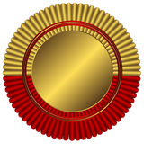 Gold medal with red ribbon. On white background vector illustration
