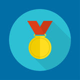 Gold medal with red ribbon. Royalty Free Stock Images