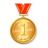 Gold medal with red ribbon isolated on white Royalty Free Stock Photo