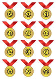 Gold Medal with Red Ribbon for Sports. Vector illustration for gold medals with red ribbon for different sports Stock Photos