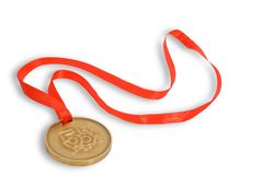 Gold medal with red ribbon. On white background Stock Photo