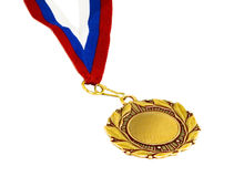 Gold medal with ribbon Stock Images