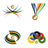 Gold medal with ribbon. Royalty Free Stock Photos