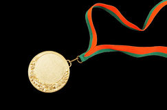 Gold medal with ribbon Stock Photo