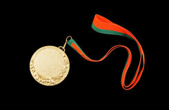 Gold medal with ribbon Stock Image