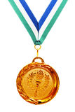 Gold medal with ribbon Royalty Free Stock Image
