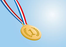 Gold medal with ribbon on blue background Royalty Free Stock Photography