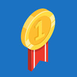 Gold medal with ribbon. Flat 3d vector isometric illustration. Gold medal with ribbon. First place. Flat 3d vector isometric illustration Stock Images