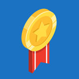 Gold medal with ribbon. Flat 3d vector isometric illustration. Gold medal with ribbon. First place. Flat 3d vector isometric illustration Stock Photo