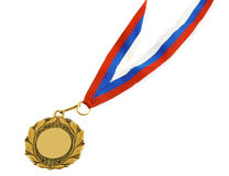 Gold medal with ribbon isolated Royalty Free Stock Photo