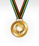 Gold medal with ribbons background. Sport gold medal with ribbon elements set background. Vector file layered for easy manipulation and customisation Royalty Free Stock Images