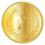 Gold Medal. A Round Golden medal engraved 1st over a white background Stock Photography