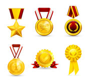 Gold medal, set. Gold medal set, computer illustration Royalty Free Stock Images