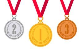 Gold medal. Silver medal. Bronze medal. Stock Image