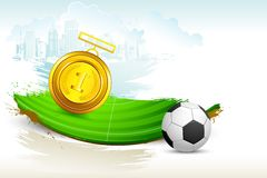 Gold Medal on Soccer Pitch Royalty Free Stock Images